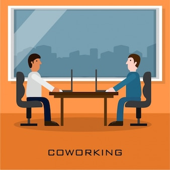 Coworking background with two businessmen