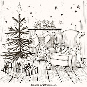 Cozy home background with hand drawn christmas tree