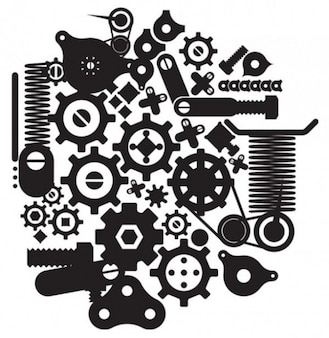 Cranks,springs and gears vector silhouettes