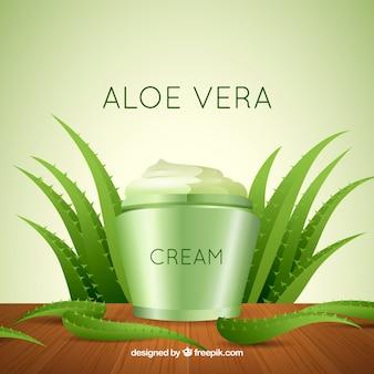 Cream background with aloe vera