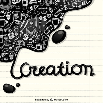 Creation icons in a notebook paper