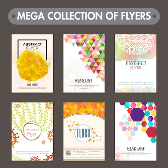 Creative abstract design decorated flyers or templates design collection