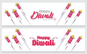 Creative banner set for indian festival diwali