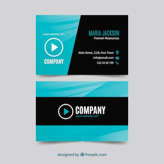 Creative blue and black business card template