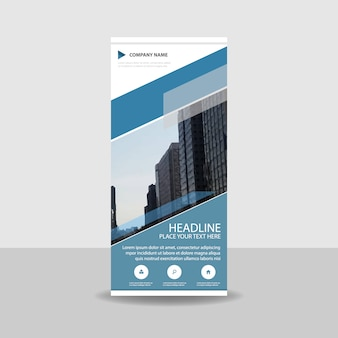 Creative blue commercial roll up banner