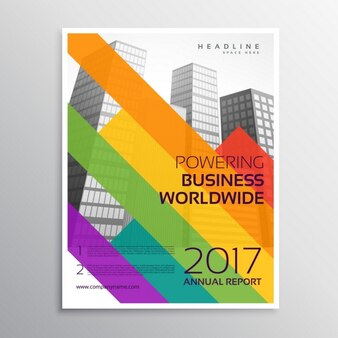 Creative business brochure with colorful stripes