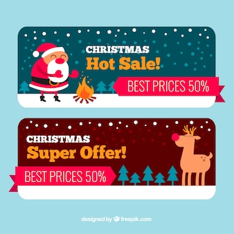 Creative christmas discount banners with reindeer and santa claus