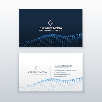 Creative concept of business card design with blue particles