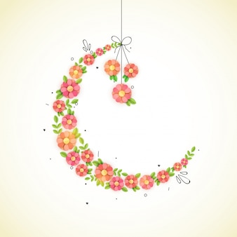 Creative Crescent Moon made by paper flowers for Muslim Community Festivals celebration concept