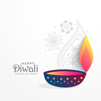 Creative diwali festival greeting background with diya