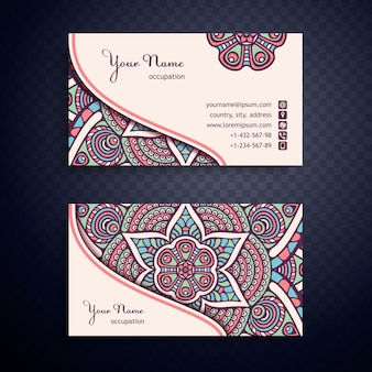 Creative ethnic mandala business card