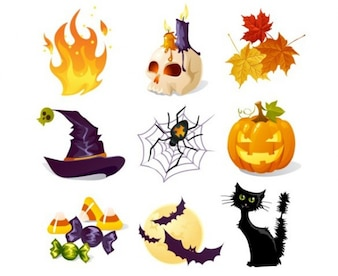 Creative Halloween theme vector icons