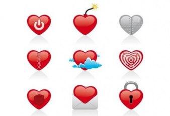 Creative heart icons vector set