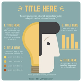 Creative infographic template with a head and a bulb