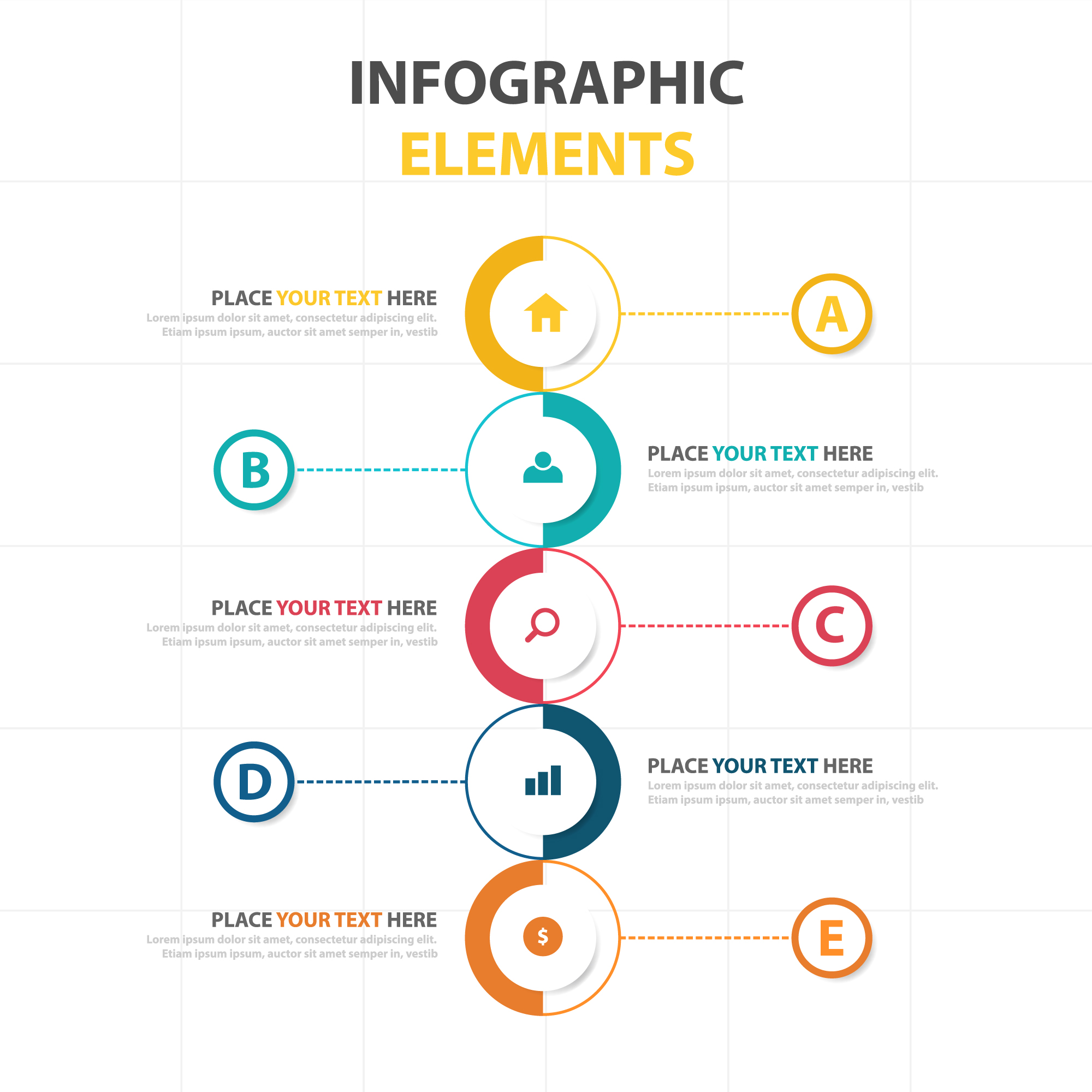 Creative infographic template with space for text