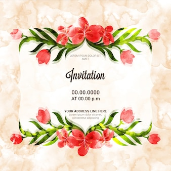 Creative Invitation Card with beautiful flowers.