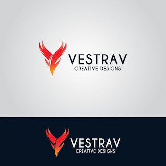 Creative letter v logo with flames