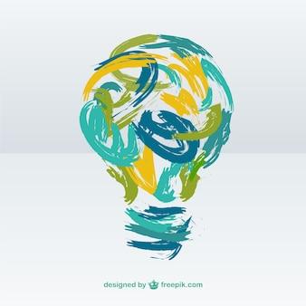 Creative light bulb made of brush strokes