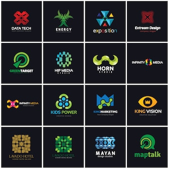 クリエイティブなロゴコレクション、メディアと創造的なアイデアのロゴデザインテンプレート。