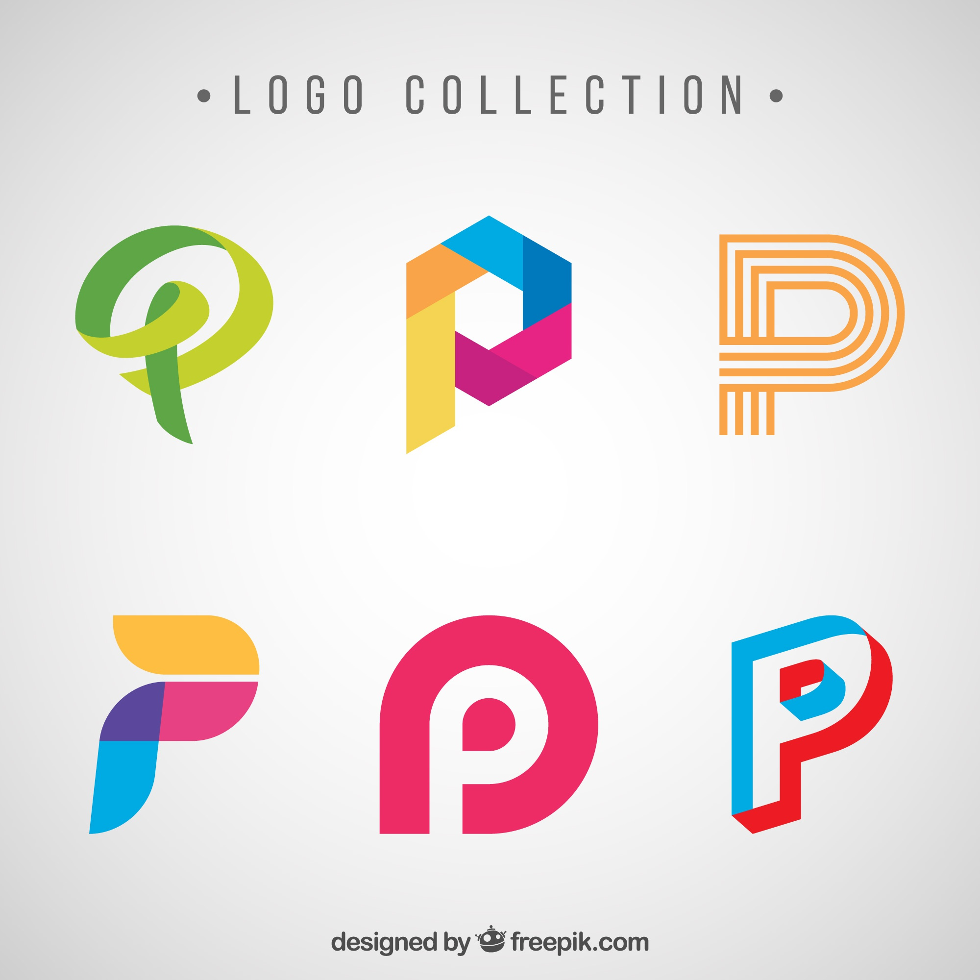 Creative logos of letter  p  pack