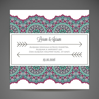 Creative mandala wedding invitation concept