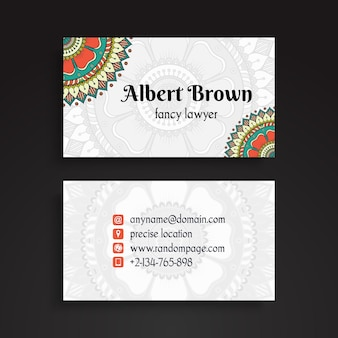 Creative tribal business card with mandala decoration