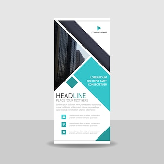 Creative turquoise commercial roll up banner