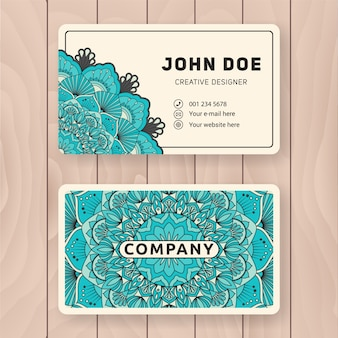 Creative useful business name card design. Vintage colored Mandala design for personal name card, visiting card or tag