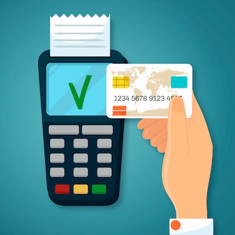 Credit card payment with flat design
