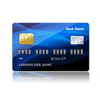 Credit card with blue wavy forms