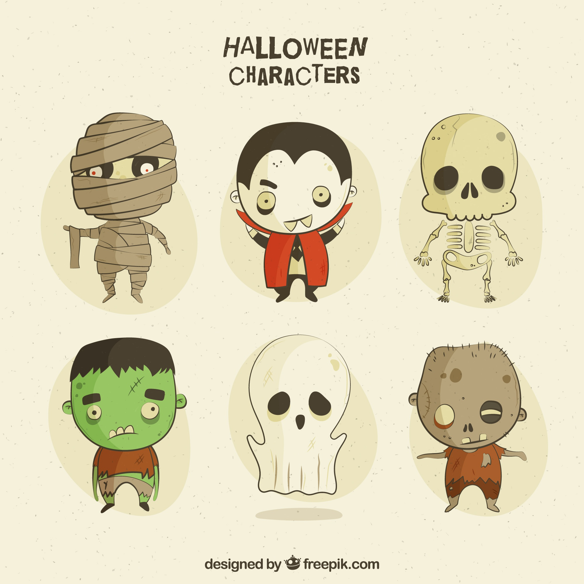 Creepy characters in vintage style