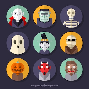 Creepy halloween characters collection