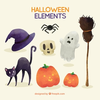 Creepy halloween elements painted with watercolor