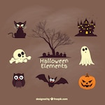 Creepy halloween elements