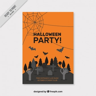 Creepy halloween poster with a cemetery