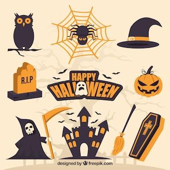 Creepy pack of flat halloween elements