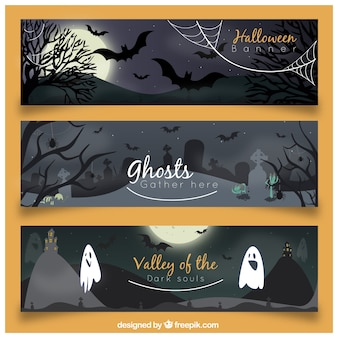 Creepy pack of halloween banners