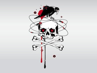 Creepy skull dead bones blood vector
