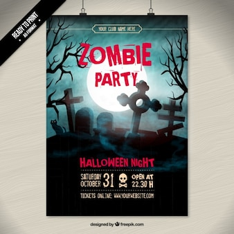 Creepy zombie party poster