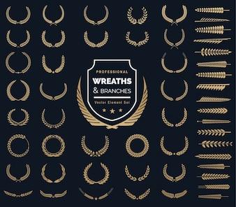 Набор элементов логотипа гребцов. Геральдический логотип, винтажные лавровые венки, элементы дизайна логотипа