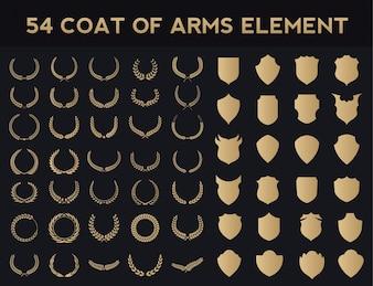 Crests logo element set.Heraldic logo,vintage laurel wreaths, Logo Design Elements