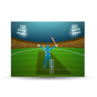 Cricket background with bowler