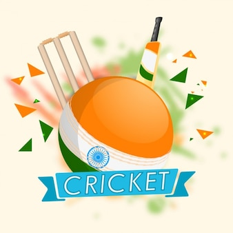 Cricket background with colors of indian flag