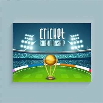 Cricket background with stadium and trophy