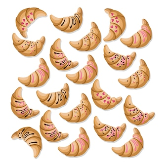 Croissant collection on white background