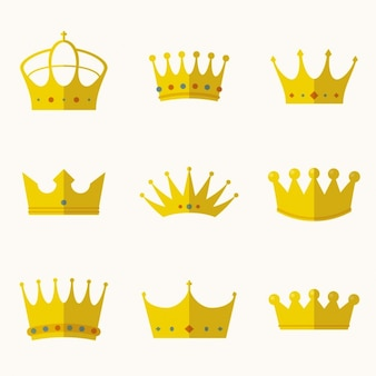 Crowns collection in flat design