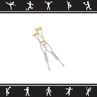 松葉杖。ベクトルイラスト