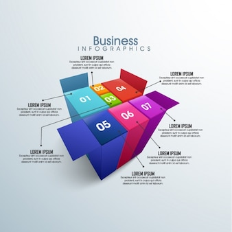 Cube-shaped infographic template