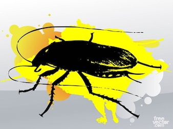 Cucaracha with yellow paint stain