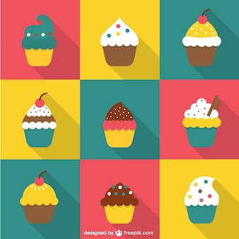 Cupcake icons in flat design style